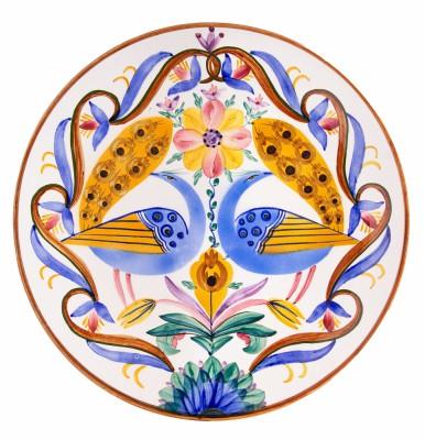 Talerz dekoracyjny z pawiami