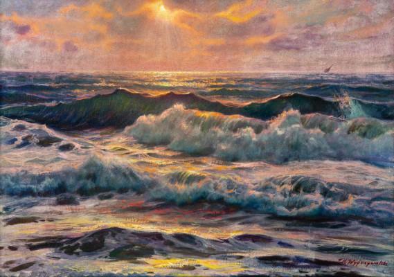 """""""Morskie fale o zachodzie słońca"""""""