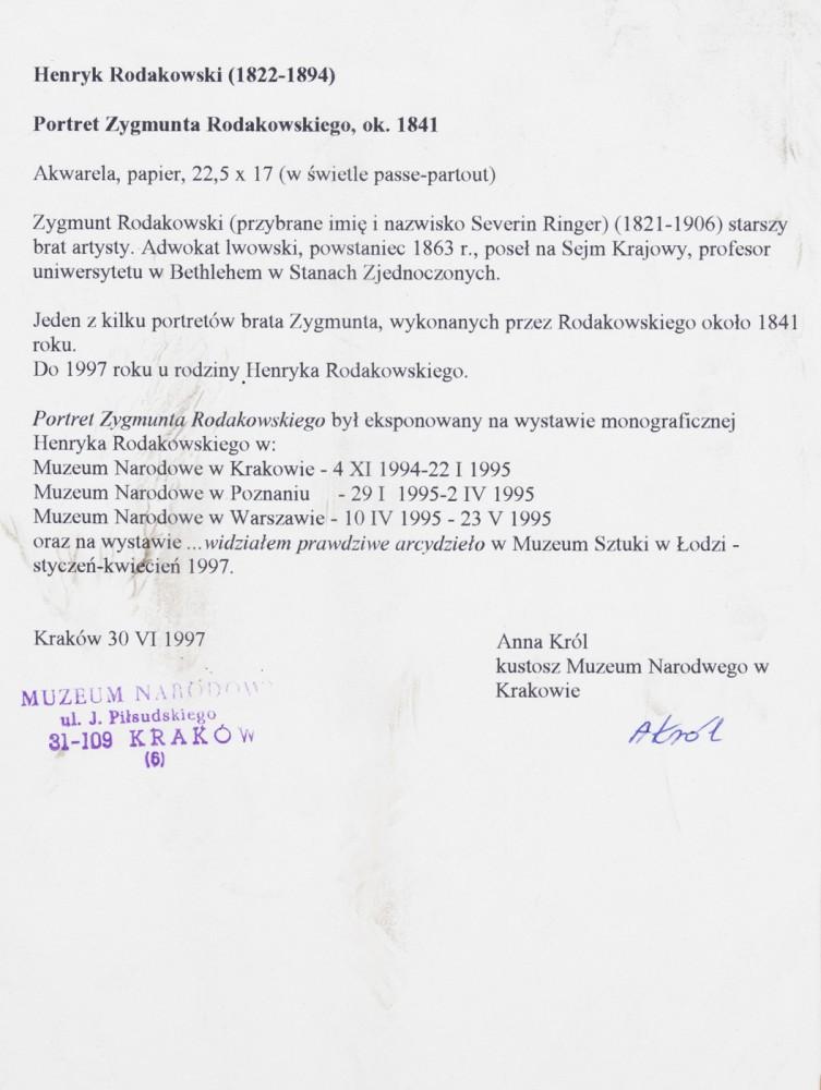"""""""Portret Zygmunta Rodakowskiego, brata artysty"""""""