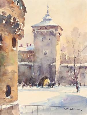 Kraków - zimowy widok na Bramę Floriańską