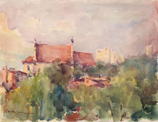 Widok na farę w Kazimierzu Dolnym