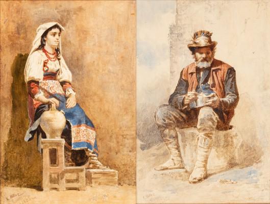 """Para portretów """"Włoszka / Starzec"""""""