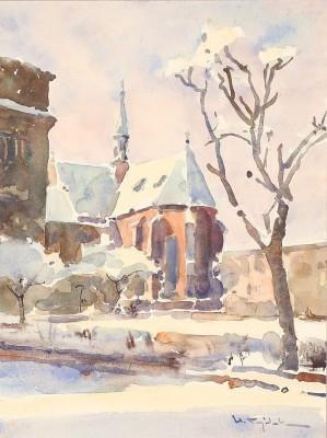 Kraków - zimowy widok na kościół franciszkanów