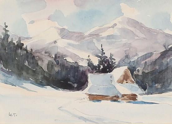 Zima w Tatrach - chata w śniegu