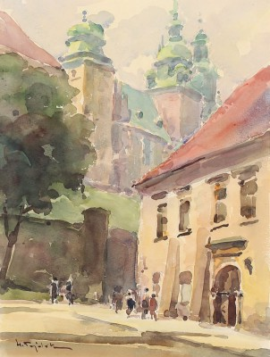 Widok na Wawel z ul. Kanoniczej