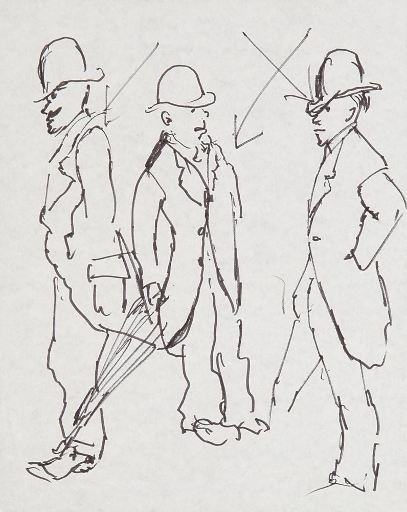Szkice mężczyzn w melonikach